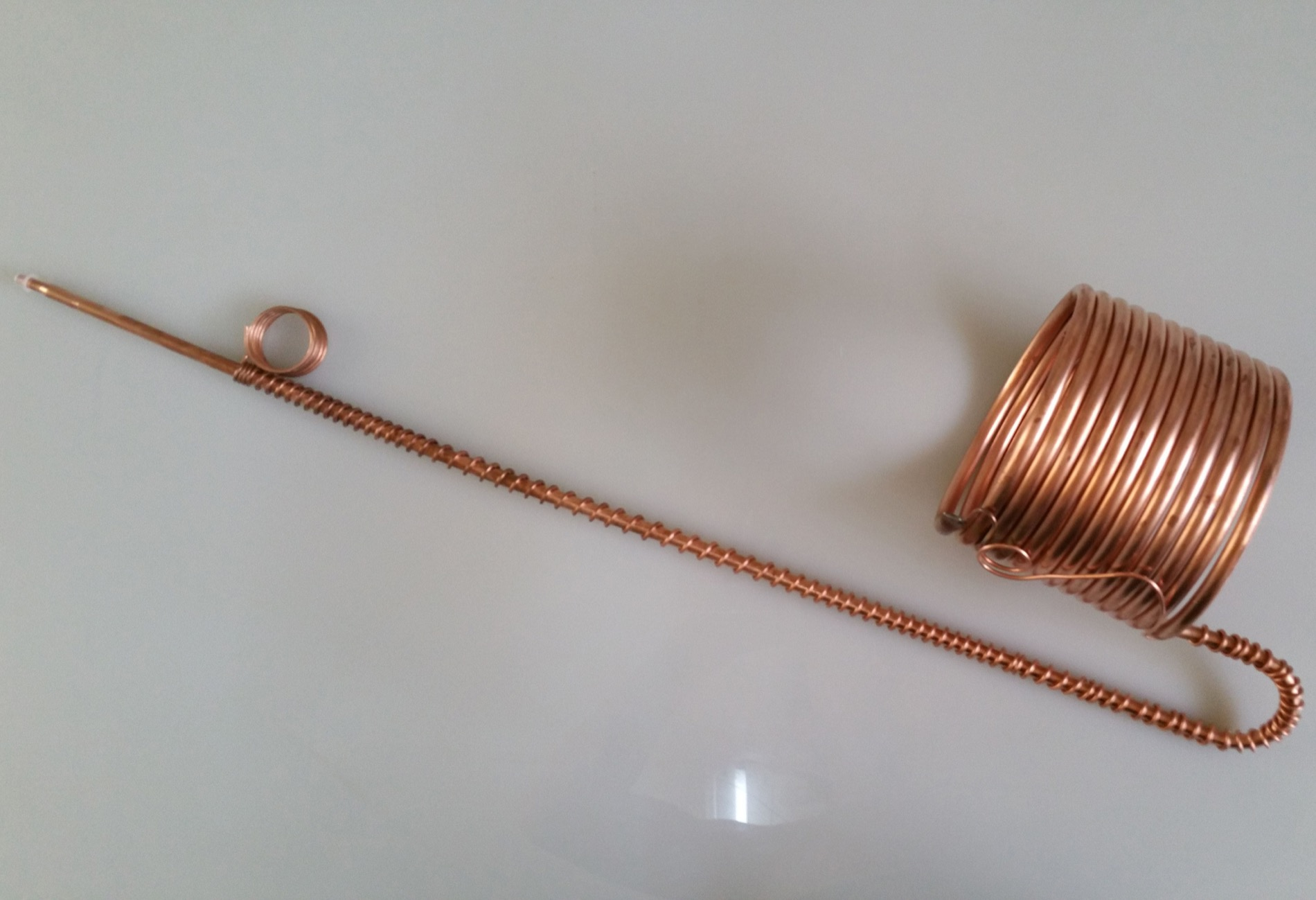 copper cilindrical coil evaporator cooling system water, feeding tube, soldering